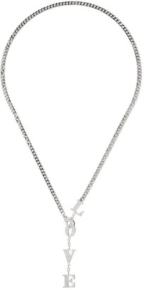 Shay 18kt white gold LOVE diamond drop necklace