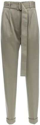 Agnona High Waist Cashmere Blend Pants W/ Belt