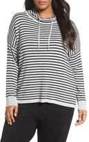 Eileen Fisher Plus Size Women's Stripe Funnel Neck Pullover