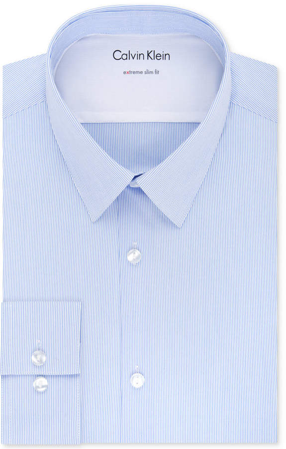 Calvin Klein X Men Extra-Slim Fit Thermal Stretch Performance Stripe Dress Shirt