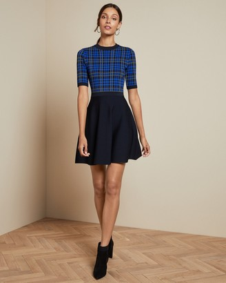 Ted Baker Knitted Check Skater Dress