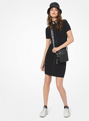 Michael Kors Ribbed Stretch-Viscose Zip-Front Dress