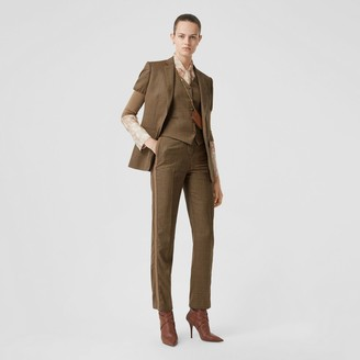 Burberry Side Stripe Houndstooth Check Wool Tailored Trousers