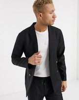 Asos DESIGN slim double breasted soft tailored suit jacket in black 100% wool