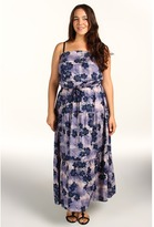 DKNY Plus Size Evening Floral Printed Maxi (Surf Navy) - Apparel