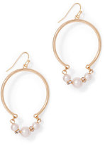 New York & Co. Faux-Pearl Accent Hoop Drop Earring