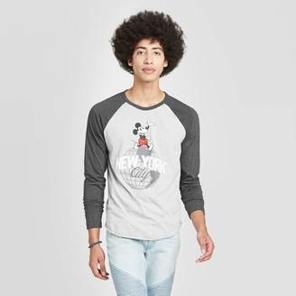 Mickey Mouse & Friends Men' Mickey Moue Long leeve Crewneck New York Raglan Graphic T-hirt -