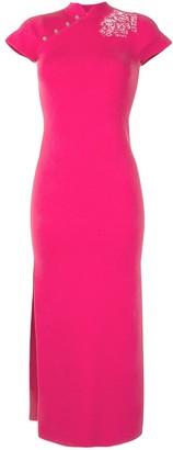 Shanghai Tang Macrame Detail Side Slit Dress