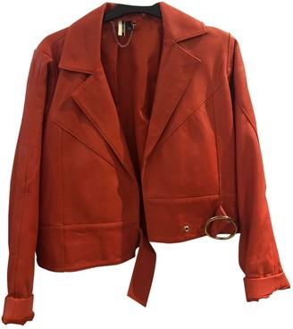 Topshop Tophop Orange Leather Jacket for Women