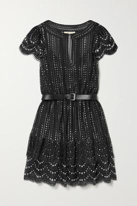 MICHAEL Michael Kors Belted Crystal-embellished Metallic Lace Mini Dress - Black