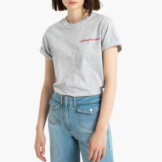La Redoute Collections Cotton Boyfriend T-Shirt with Embroidered French Slogan