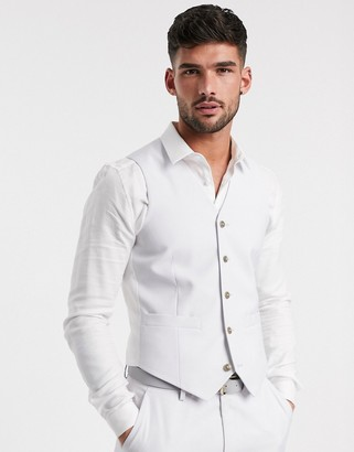 Asos Design DESIGN wedding slim suit suit vest in light gray