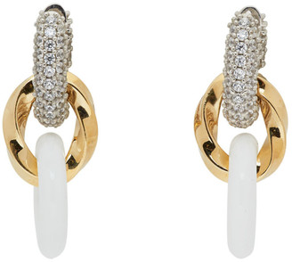 Bottega Veneta Gold and White Drop Chain Earrings