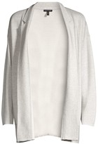 Eileen Fisher Notch Collar Wool Silk Cardigan