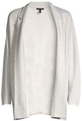 Eileen Fisher Notch Collar Wool Silk Cardigan