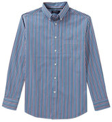 Roundtree & Yorke Trademark Big and Tall Multi-Stripe Poplin Sportshirt