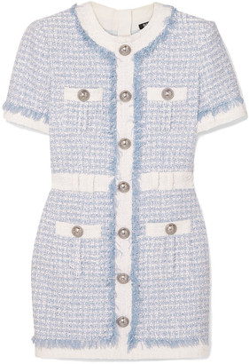 Balmain Embellished Tweed Mini Dress