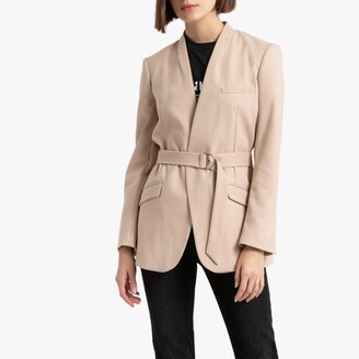 La Redoute Collections Straight Cut Collarless Jacket with Belt and Pockets