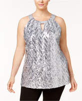 INC International Concepts I.n.c. Plus Size Chevron-Sequined Halter Top, Created for Macy's