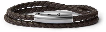 Bottega Veneta Intrecciato Leather and Oxidised Silver-Tone Wrap Bracelet - Brown