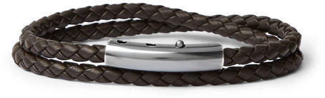 Bottega Veneta Intrecciato Leather and Oxidised Silver-Tone Wrap Bracelet
