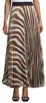 Alice + Olivia Maura Metallic Sunburst Plisse Skirt