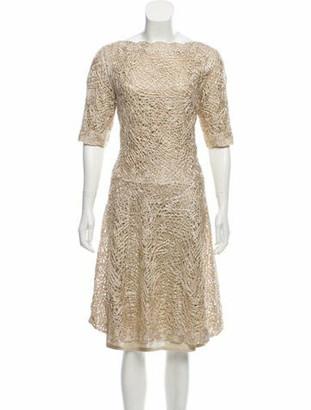 Oscar de la Renta 2015 Textured Midi Dress Gold