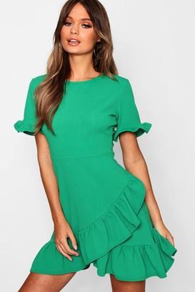 boohoo Asymmetric Ruffle Hem Shift Dress