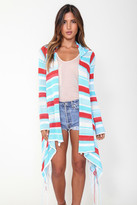 Goddis Stripe Linsey Hooded Wrap W/ Fringe In Mystic Mojave
