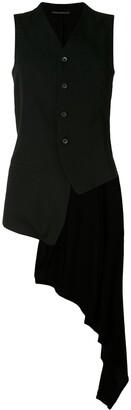 Yohji Yamamoto Asymmetric Draped-Back Waistcoat