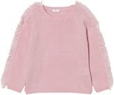Il Gufo Pale Pink Frill Shoulder Jumper