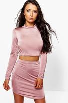Boohoo Rose Curved Hem Slinky Mini Skirt And Crop Top