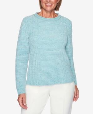 Alfred Dunner Women's Missy St. Moritz Fleck Chenille Solid Sweater