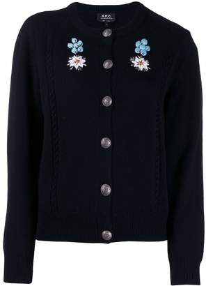 A.P.C. embroidered floral cardigan