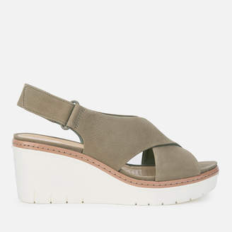 Clarks Women's Palm Candid Nubuck Wedged Sandals - Olive