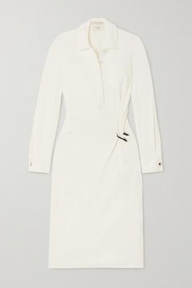 Bottega Veneta Embellished Ruched Stretch-jersey Midi Dress - White