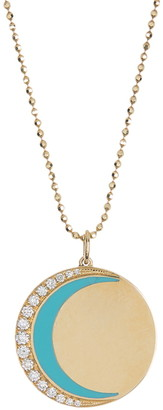 Ef Collection 14K Yellow Gold Pave Diamond & Enamel Crescent Moon Necklace - 0.26 ctw