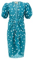Adriana Degreas Pois Polka-dot Print Tie-front Cover-up Robe - Womens - Blue Print