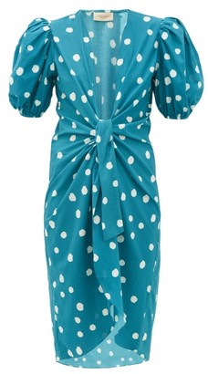 Adriana Degreas Pois Polka Dot Print Tie Front Cover Up Robe - Womens - Blue Print