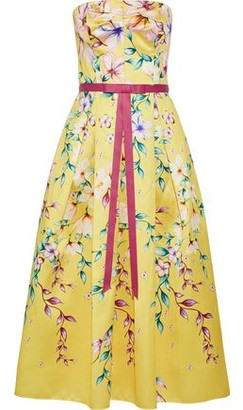 Marchesa Strapless Bow-embellished Floral-print Satin-pique Gown
