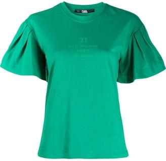Karl Lagerfeld Paris puff-sleeve cotton T-shirt