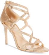 Badgley Mischka Aliza Glittered Strappy Evening Sandals