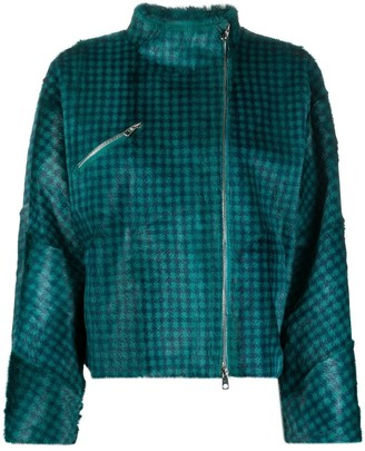Emporio Armani High-Neck Check Jacket