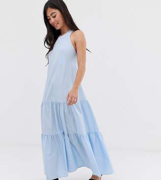 Asos DESIGN Petite tiered racer back smock maxi dress-Blue
