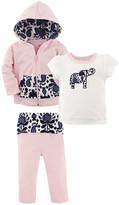 Yoga Sprout Girls' Yoga Pants Ikat - Pink & Purple Elephant Hoodie Set - Toddler