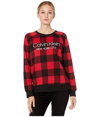 Calvin Klein Underwear Modern Cotton Lounge Buffalo Check Long Sleeve Sweatshirt