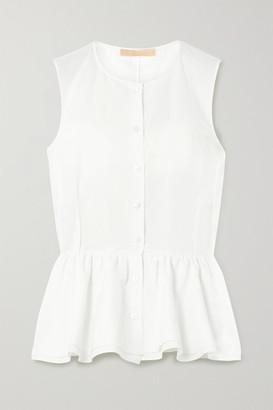 Brock Collection Cotton, Linen And Silk-blend Poplin Peplum Top - Off-white