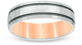 Zales Men's 6.0mm Hammered Double Stripe Wedding Band in 10K Two-Tone Gold