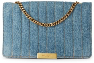 Saint Laurent Amalia Matelasse Denim Shoulder Bag