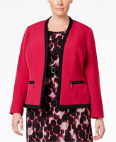 Kasper Plus Size Zip-Pocket Open-Front Blazer